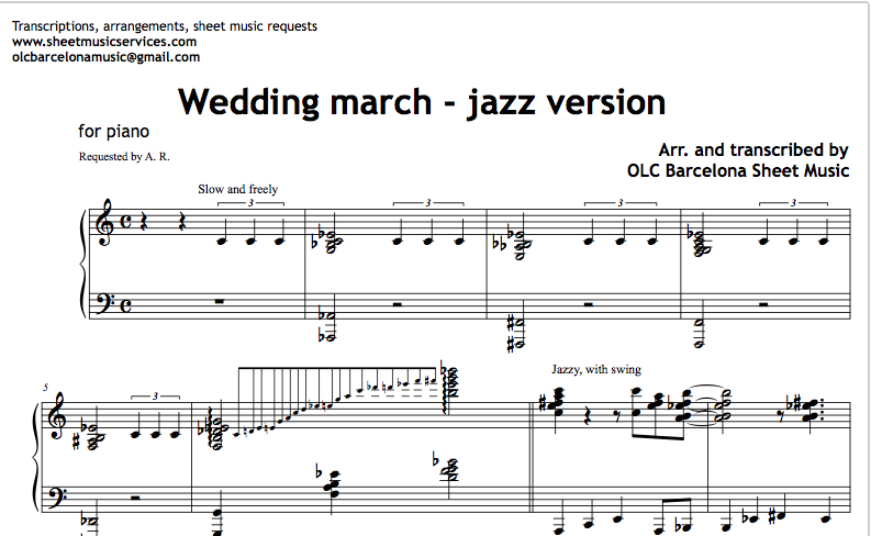 Wedding March (Jazz Version) Sheet Music and Midi File