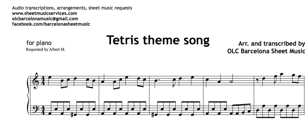 Blog • My Sheet Music Transcriptions