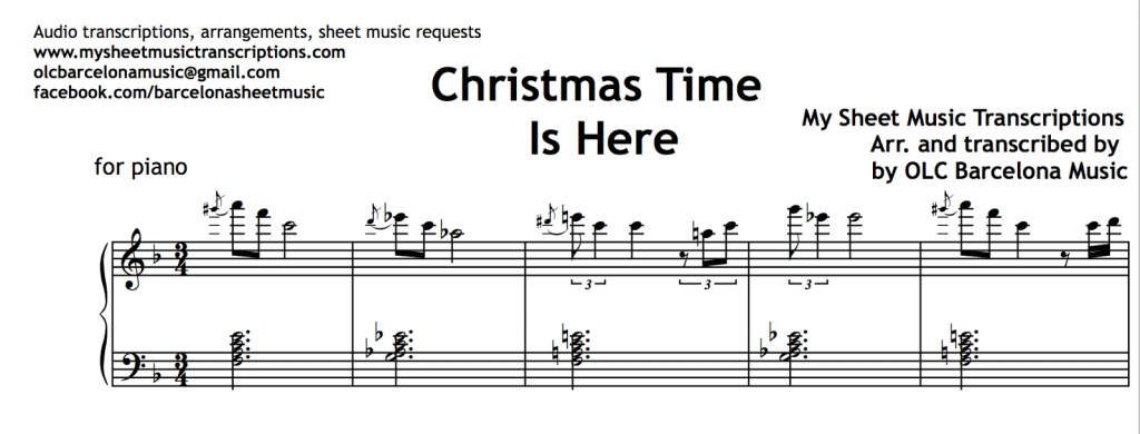 Christmas Time Is Here Sheet Music.Christmas Time Is Here Lee Mendelson Vince Guaraldi
