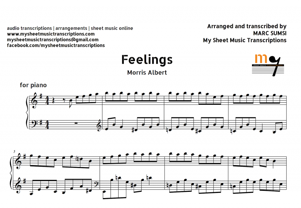 Feelings (Morris Albert) Sheet Music and Midi File
