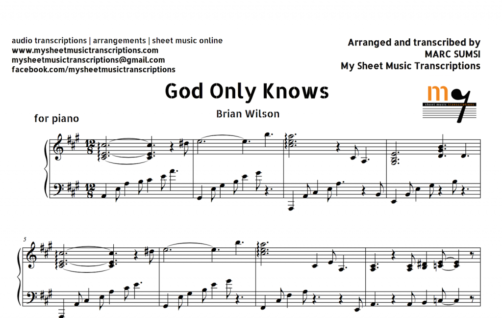God Only Knows (Brian Wilson) Sheet Music and Midi File