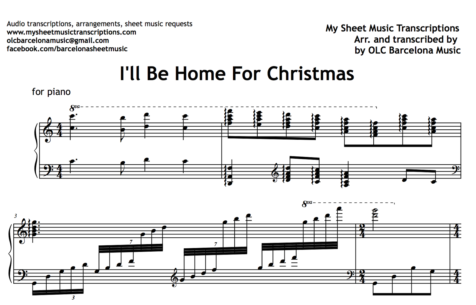 I\'ll Be Home For Christmas (Bing Crosby) Sheet Music and Midi File
