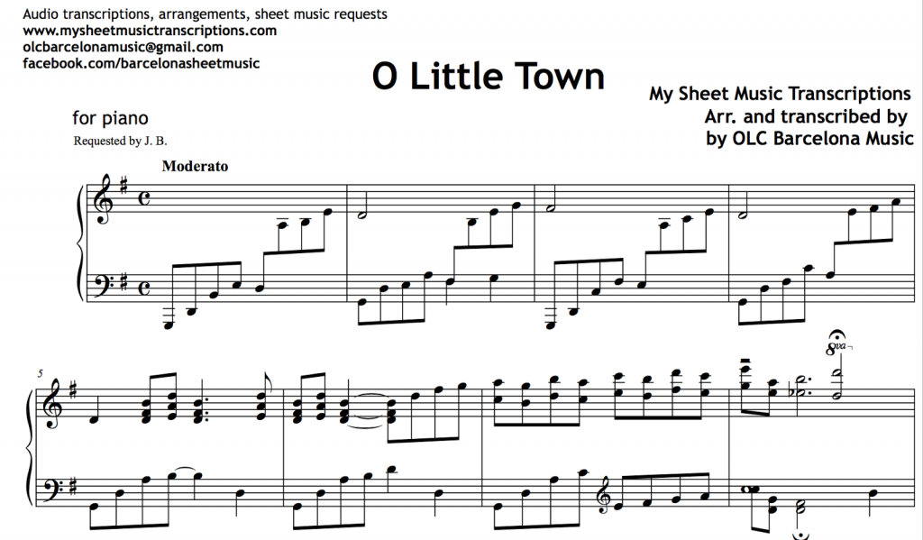 O Little Town Of Bethlehem Sheet Music For Guitar 8notescom