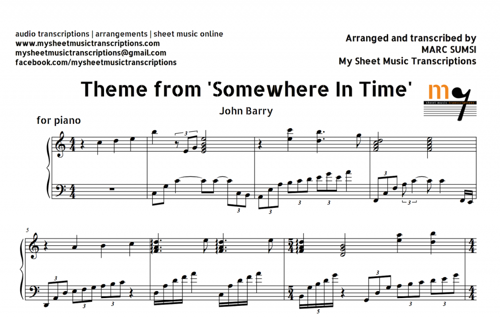 All Music Chords somewhere in time sheet music : Somewhere In Time (Movie Theme) Sheet Music and Midi File