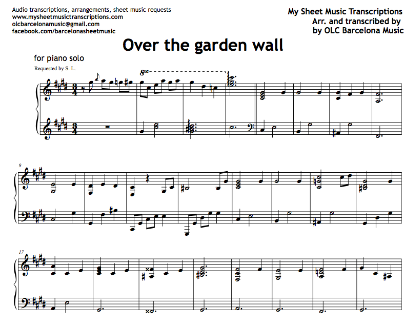 Over The Garden Wall Intro Sheet Music And Midi File