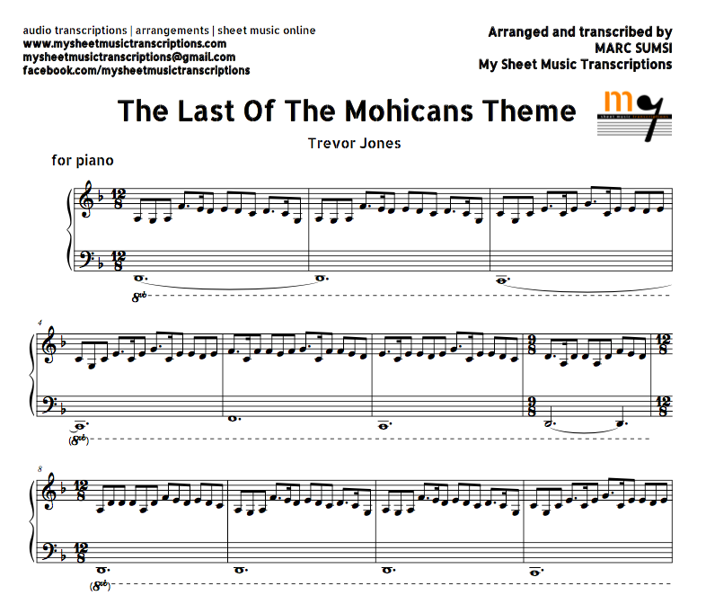 Piano Sheet Music Midi: The Last Of The Mohicans Theme (Trevor Jones) Sheet Music