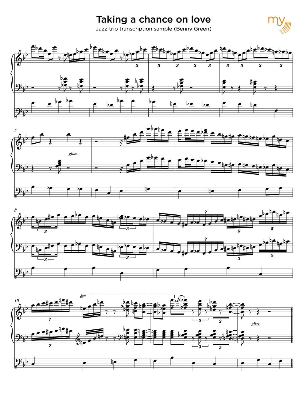 Jazz piano trio sheet music sample - sheet music transcriptions