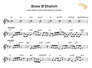 Lead sheet style transcription sample - my sheet music transcriptions