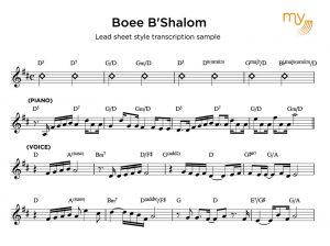 Lead sheet style transcription sample - my sheet music transcriptions