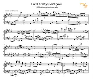 difficult complexity - sheet music sample
