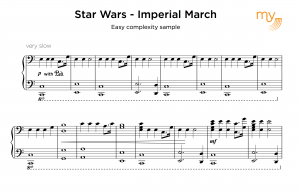 Easy sheet music sample - star wars