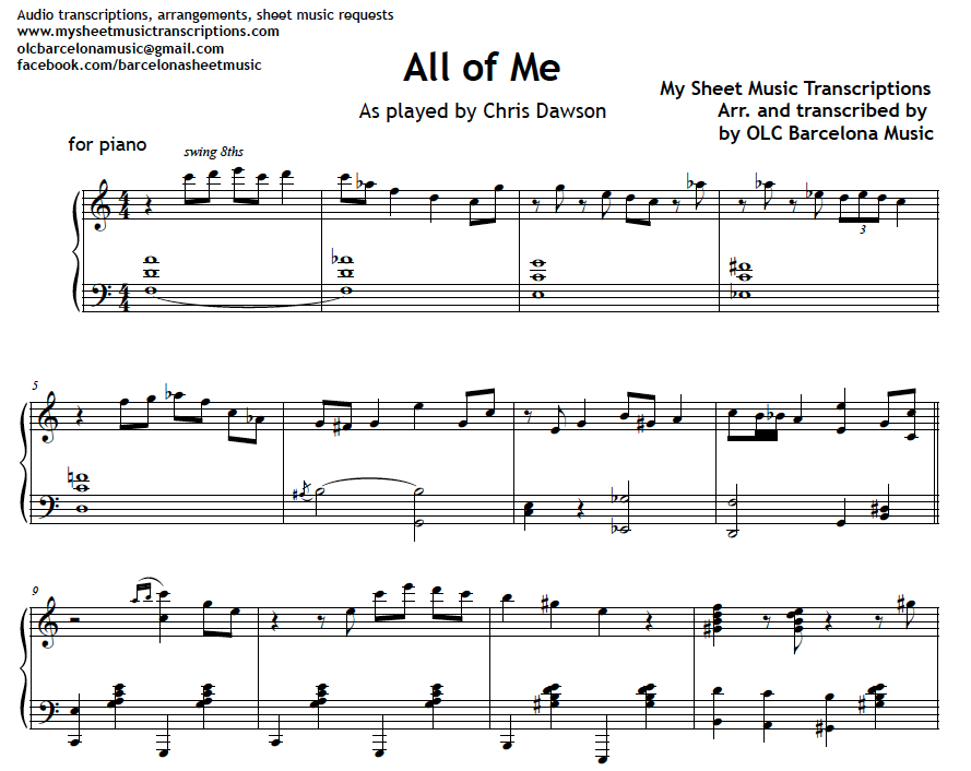 Piano jazz piano sheet music for beginners : All of me - Jazz Standard piano sheet music (.pdf) • My Sheet ...