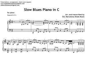 Slow Blues in C piano sheet music