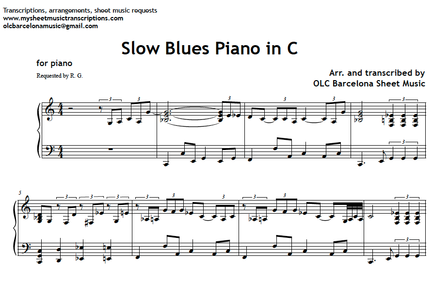 Piano easy piano blues sheet music : Slow Blues in C - piano sheet music (.pdf) • My Sheet Music ...