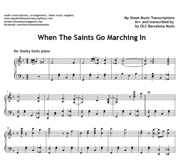 When the saints go marching in sheet music