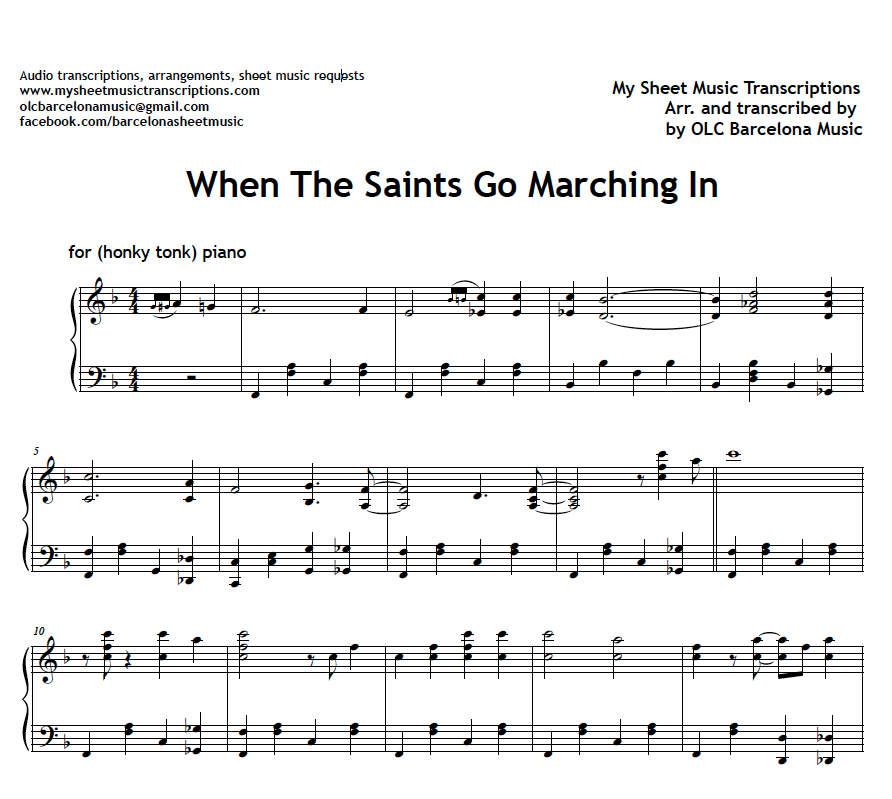 Piano jazz piano sheet music for beginners : When the saints go marching in - jazz piano sheet music (.pdf ...