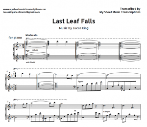 Last leaf falls - Lucas King sheet music