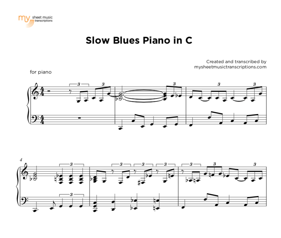 Slow Blues in C - piano sheet music ( pdf)
