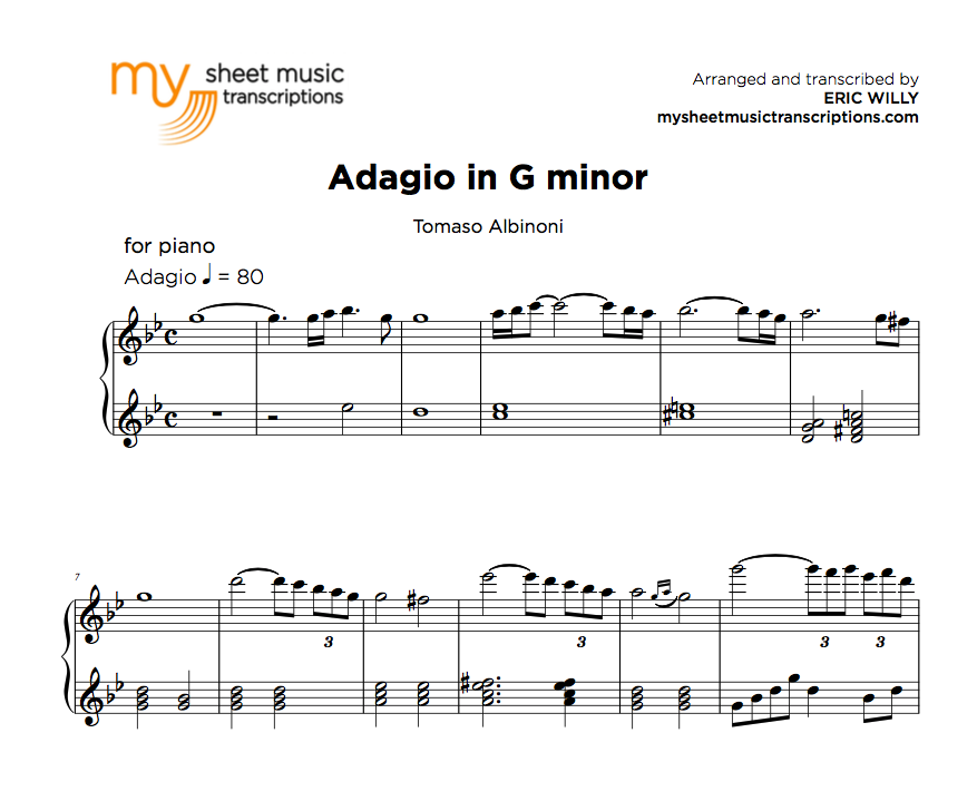 Adagio In G Minor Tomaso Albinoni Sheet Music Pdf My Sheet Music Transcriptions