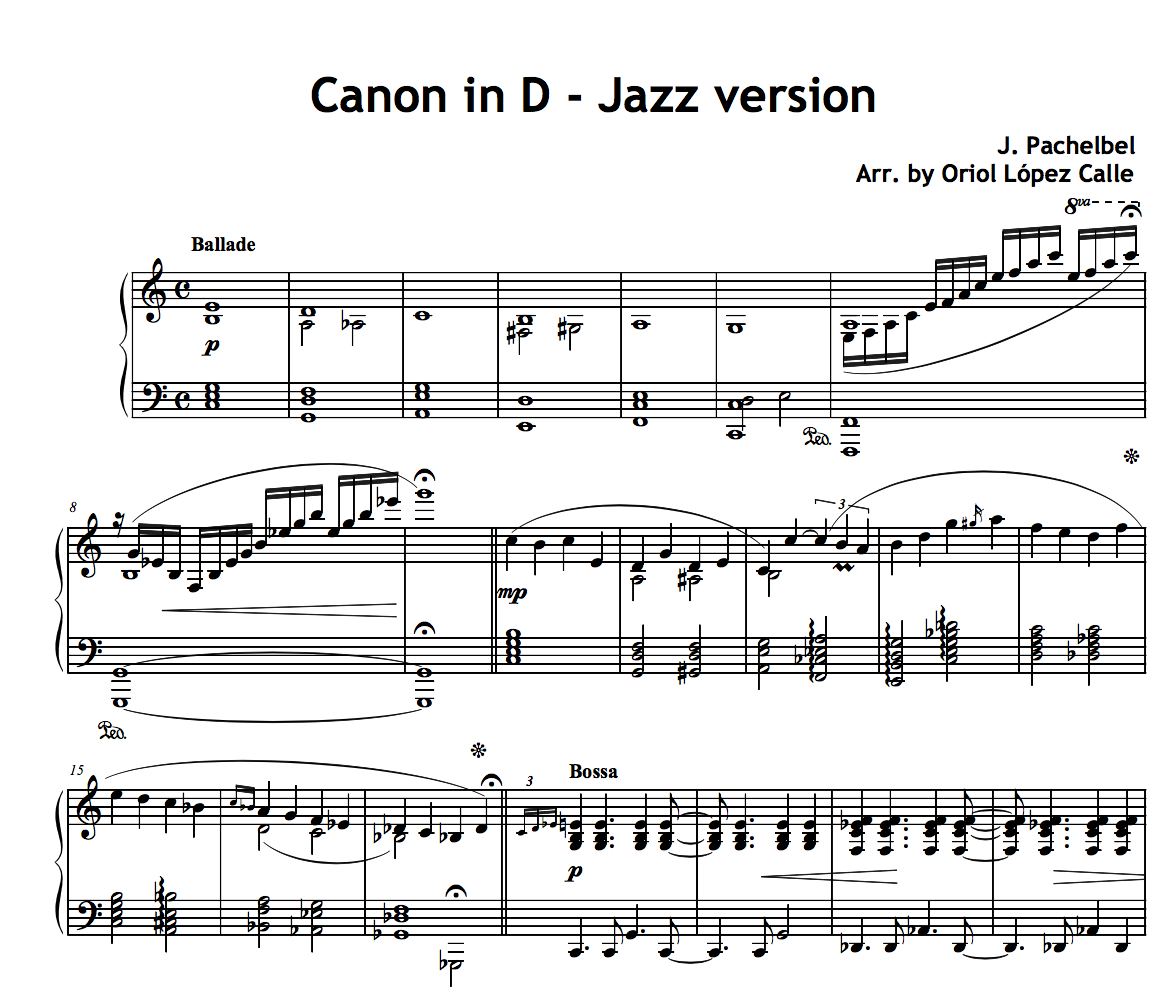 Canon in D (Pachelbel) Jazz Version for Piano Solo sheet music (.pdf) • My Sheet Music ...