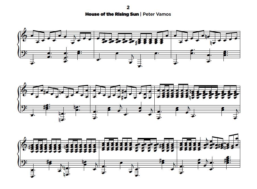 House of The Rising Sun - Peter Vamos | sheet music (.pdf) • My ...