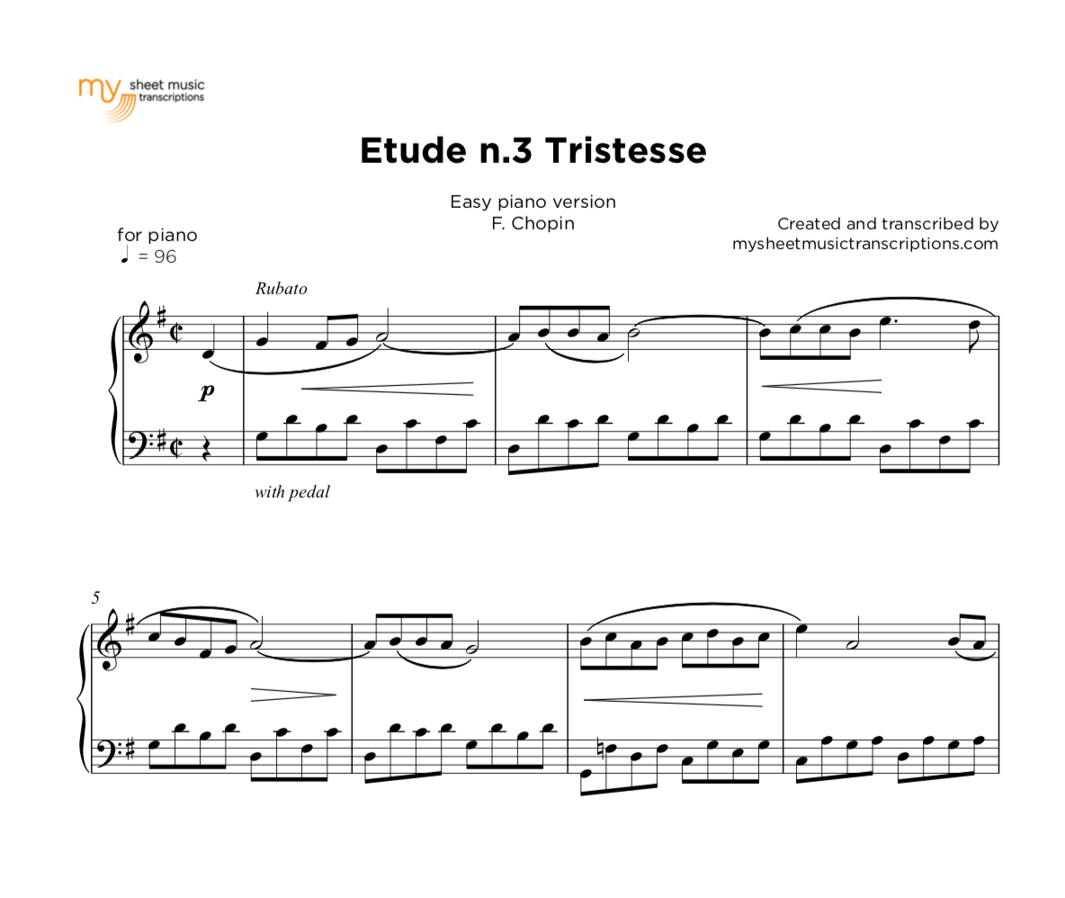 "Easy Piano Sheet Music With: Etude #3 ""Tristesse"" - Chopin"