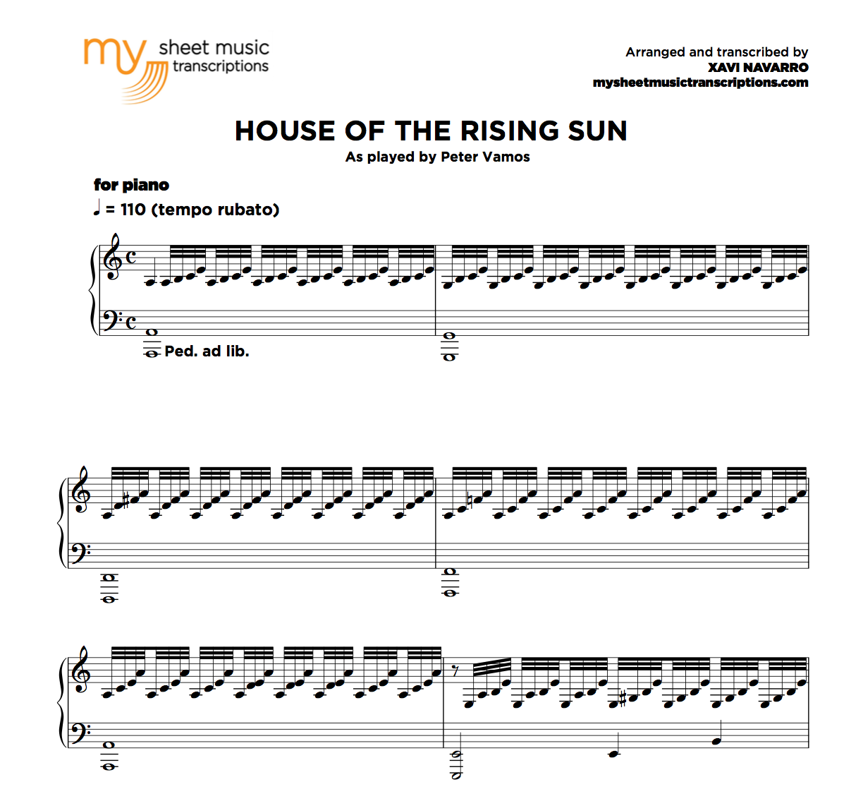 House of the rising sun peter vamos sheet music pdf for The house music