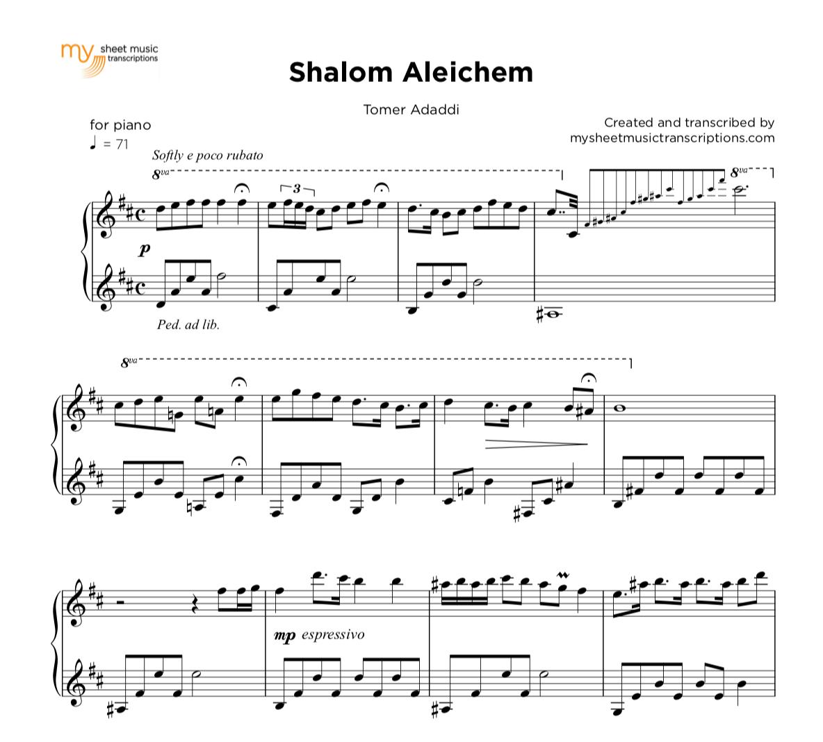 Shalom Aleichem - Traditional jewish for piano solo | sheet music ( pdf)
