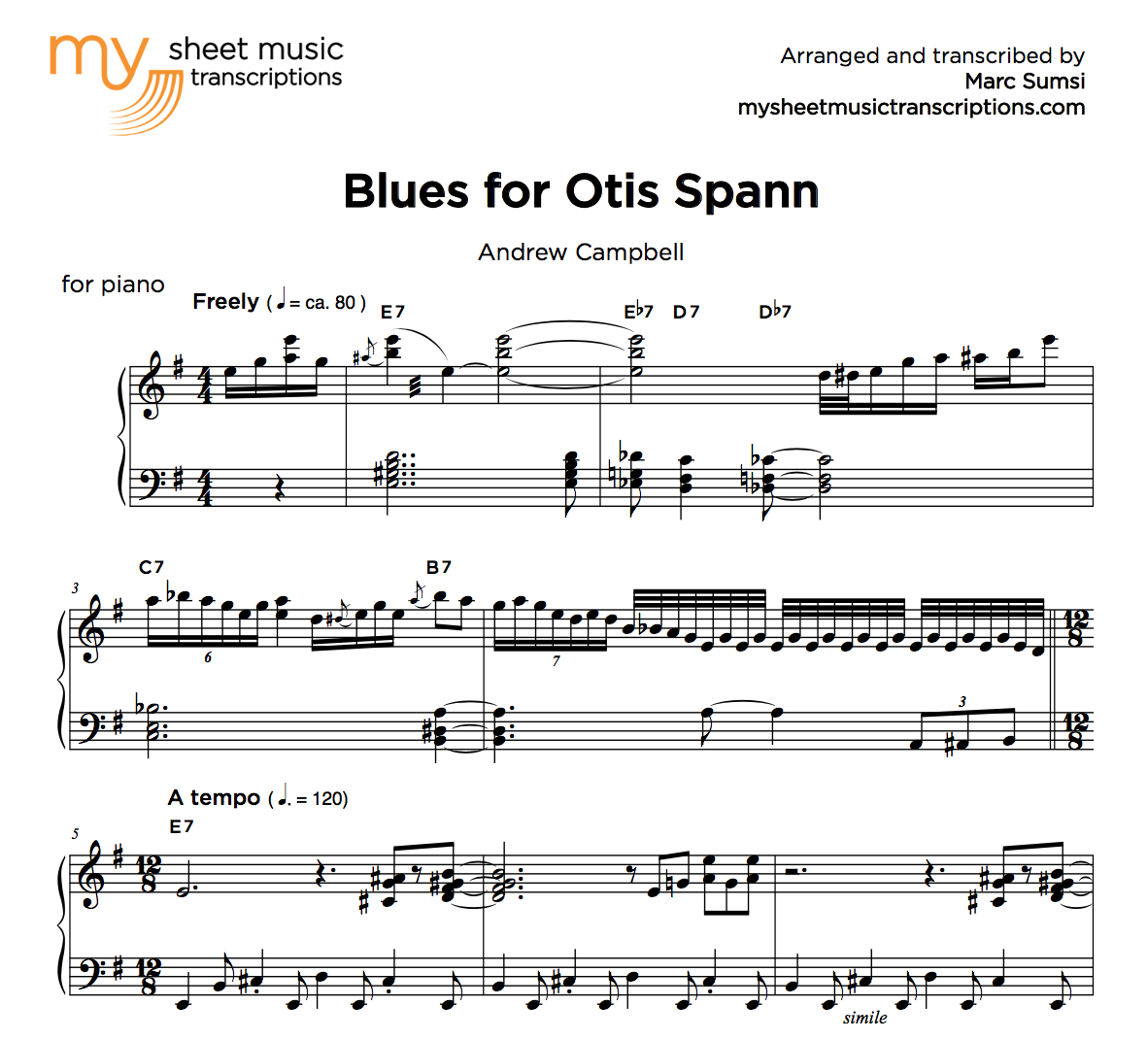 BLUES FOR OTIS SPANN (A  Campbell) - MSMT-1 • My Sheet Music