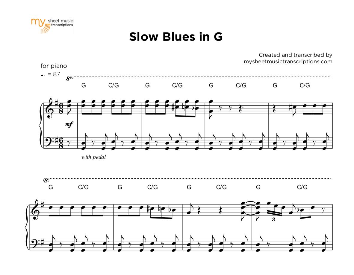 Slow Piano Blues in G | sheet music ( pdf)