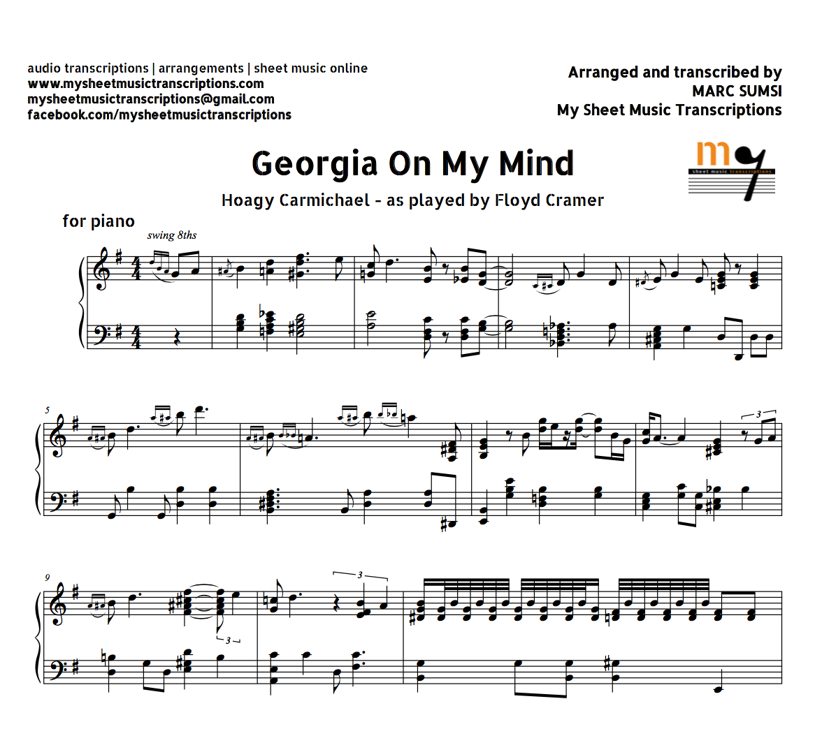 Georgia on my mind hoagy carmichael as played by floyd cramer georgia on my mind hoagy carmichael as played by floyd cramer sheet music pdf hexwebz Image collections
