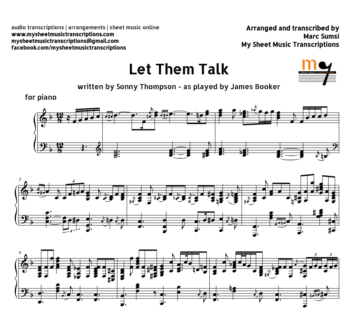 Besame Mucho Lyrics Sheet Music: (Sonny Thompson) As Played By James Booker