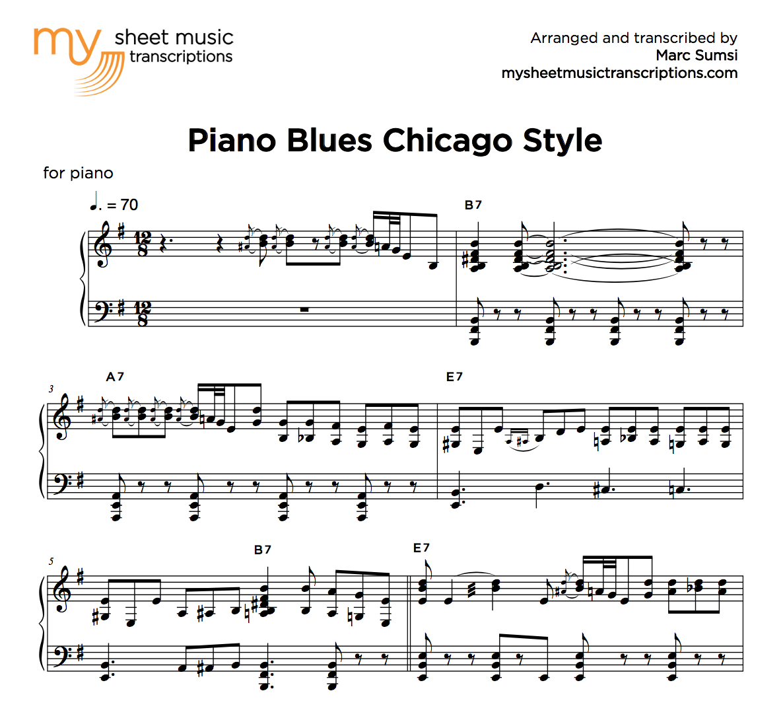 Piano Blues Chicago Style Sheet Music Pdf My Sheet Music Transcriptions
