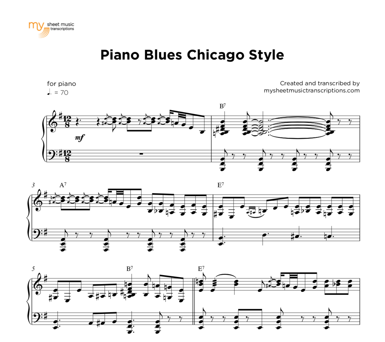 Piano Blues Chicago Style | sheet music ( pdf)