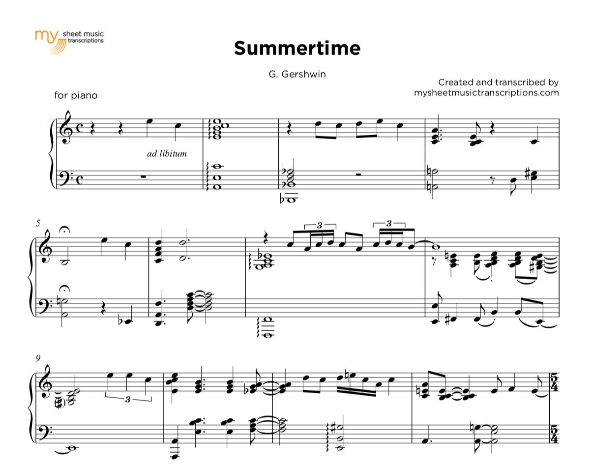 Summertime - G  Gershwin | sheet music ( pdf)