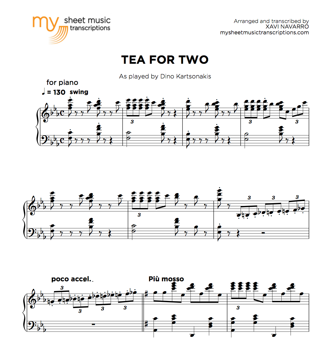 Tea for two - jazz standard for piano solo - MSMT • My Sheet Music