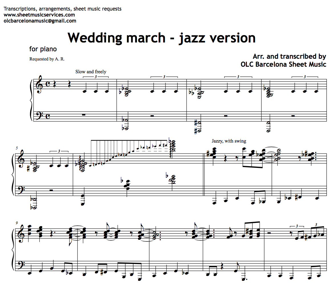 Wedding March Jazz Version Sheet Music Pdf