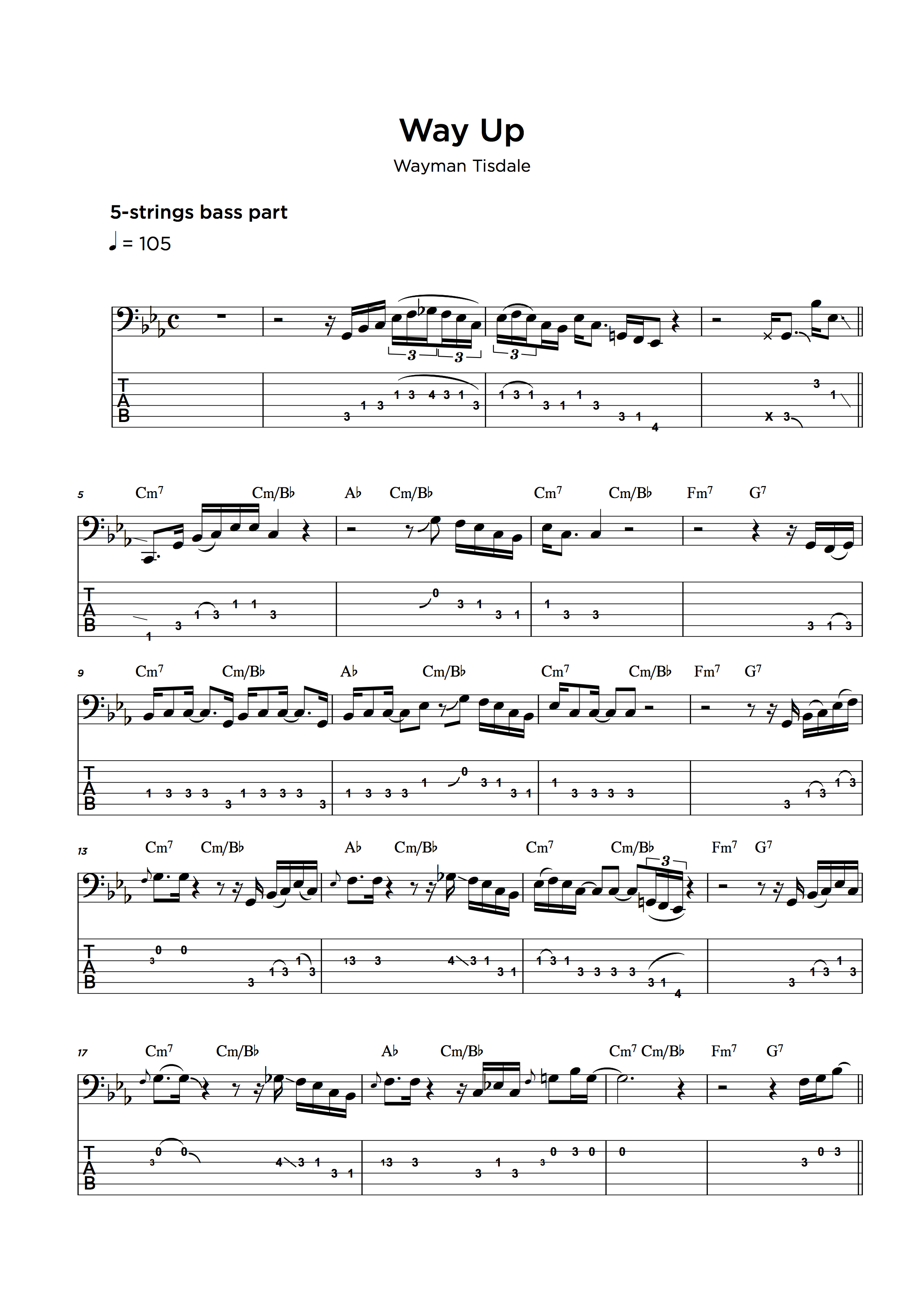 Bass Tab Transcription Service