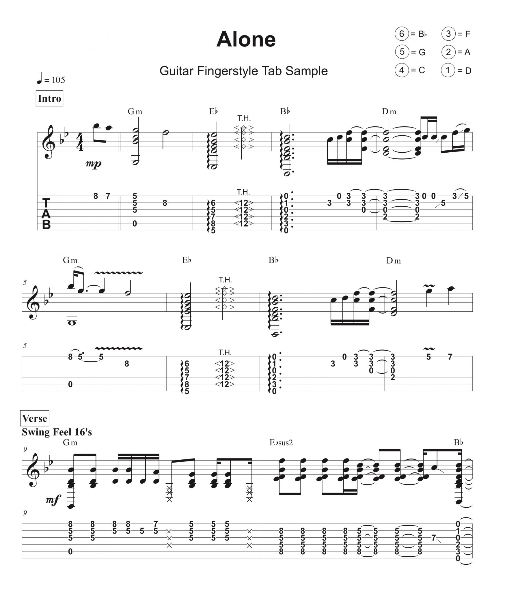 Guitar tab sample