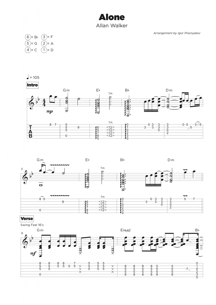 Guitar Tab Transcription Service My Sheet Music Transcriptions