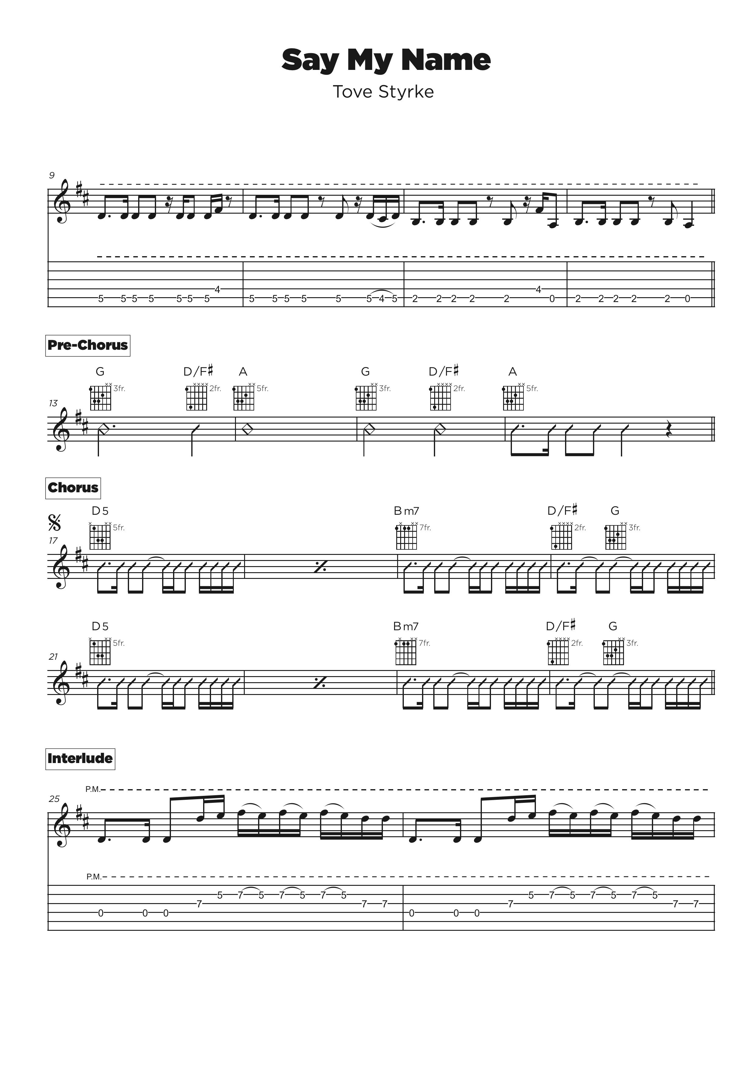 Guitar tab transcription service - slash example
