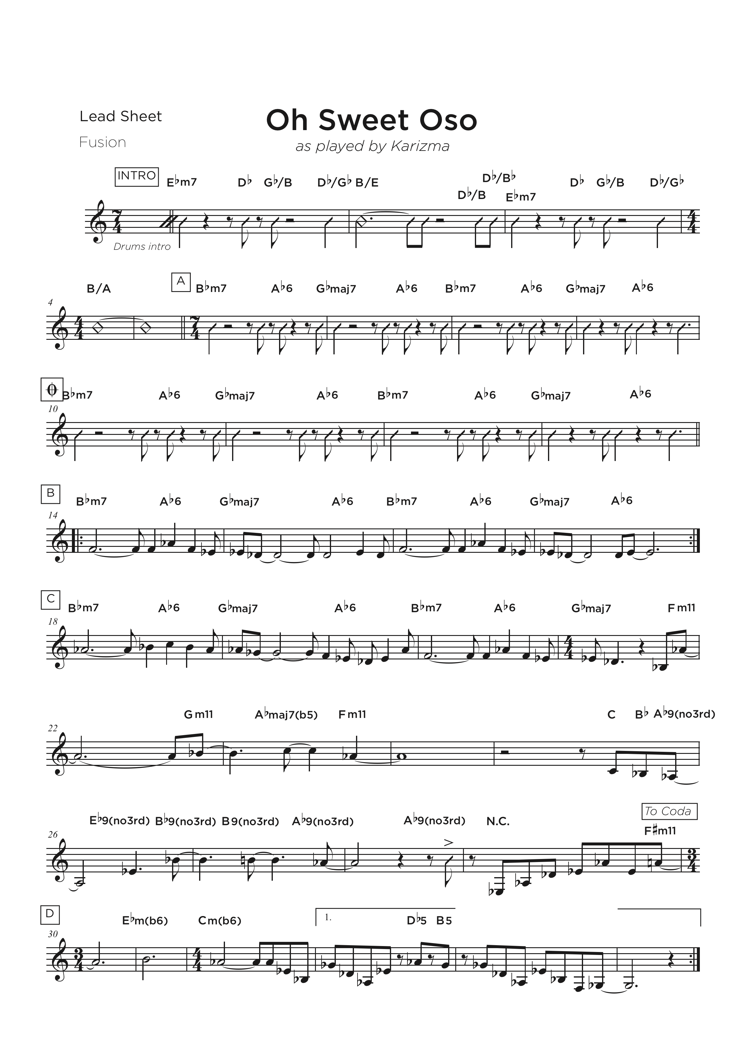 Jazz Transcription rhythmic chart