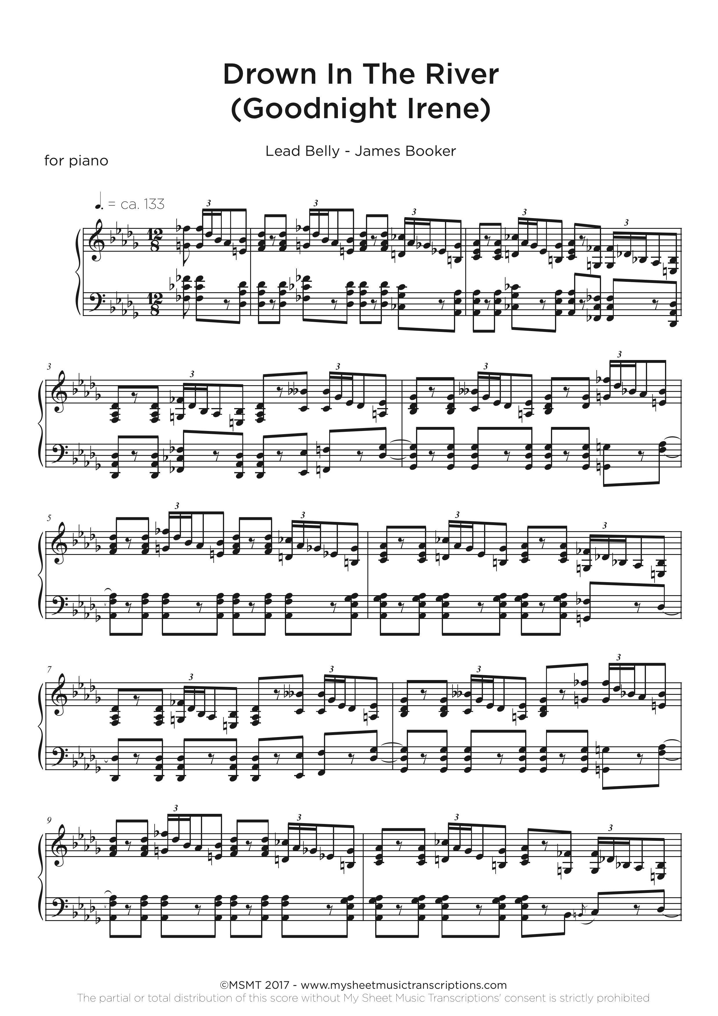 Piano Blues Transcription Service - James Booker