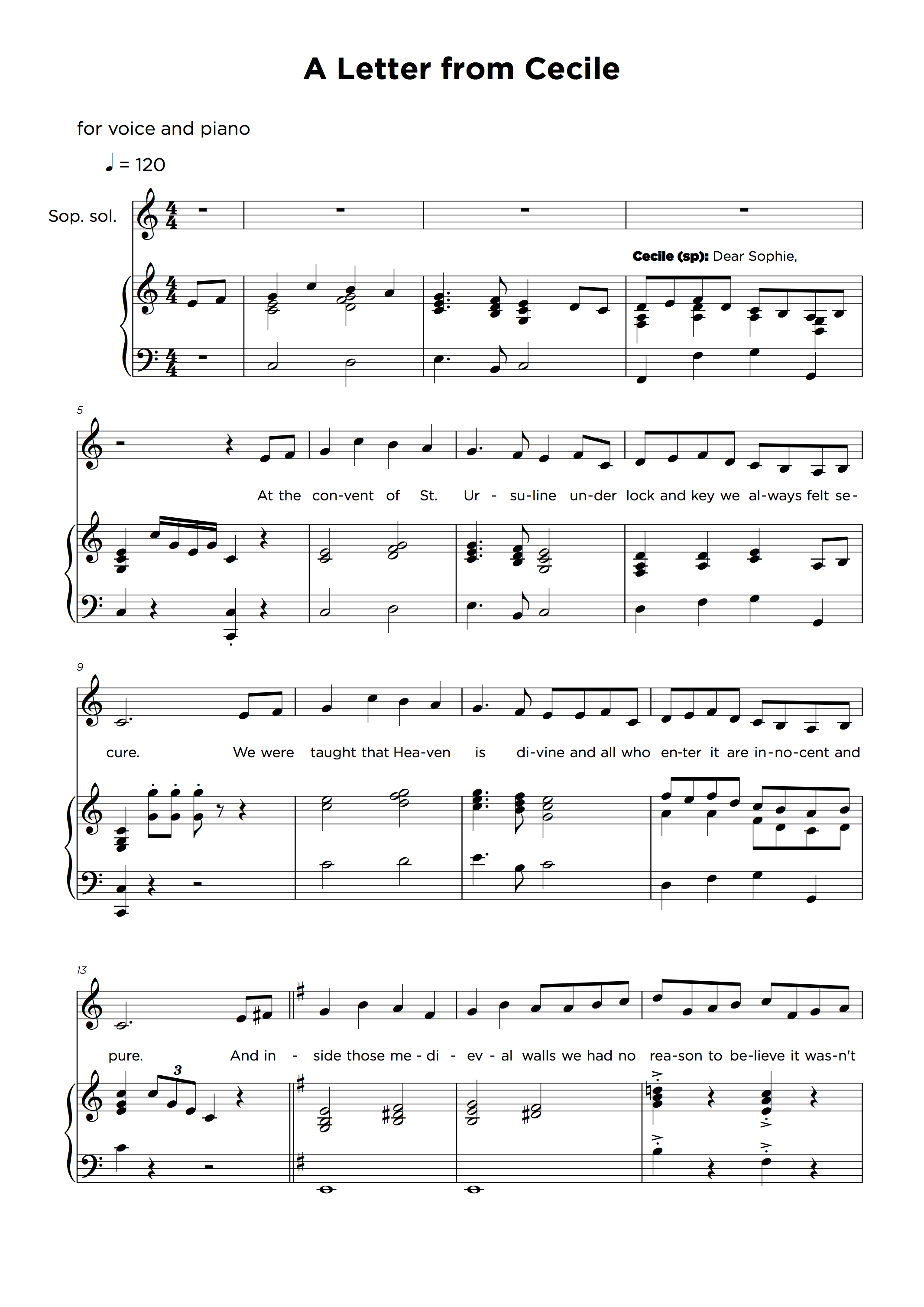 Piano and Vocal Transcription Musical Theatre Sample