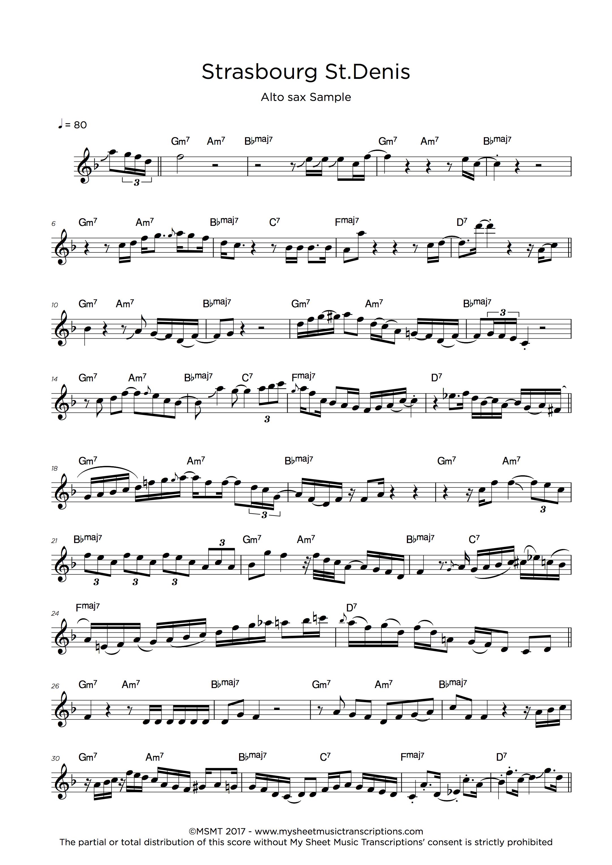 Saxophone Transcription Service - Alto sample