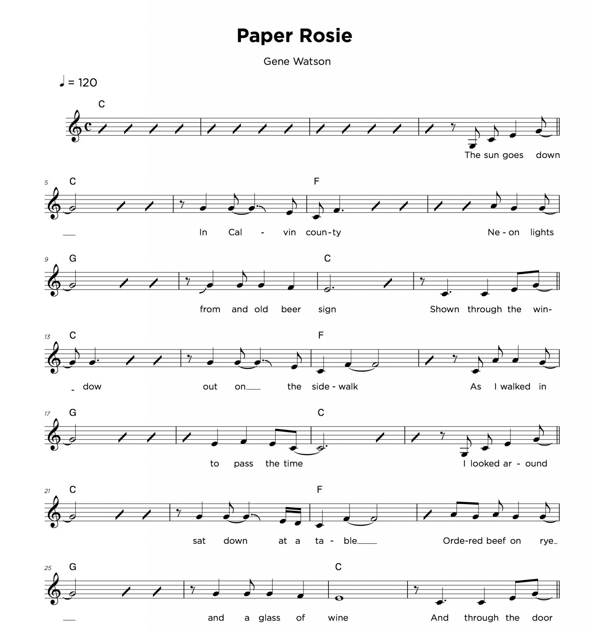 Vocal lead sheet sample