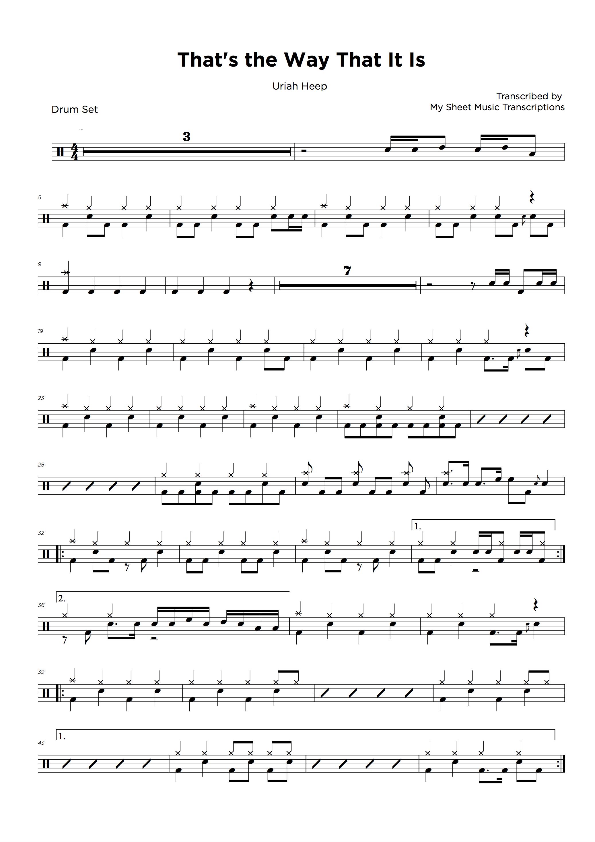 Drum transcriptions service