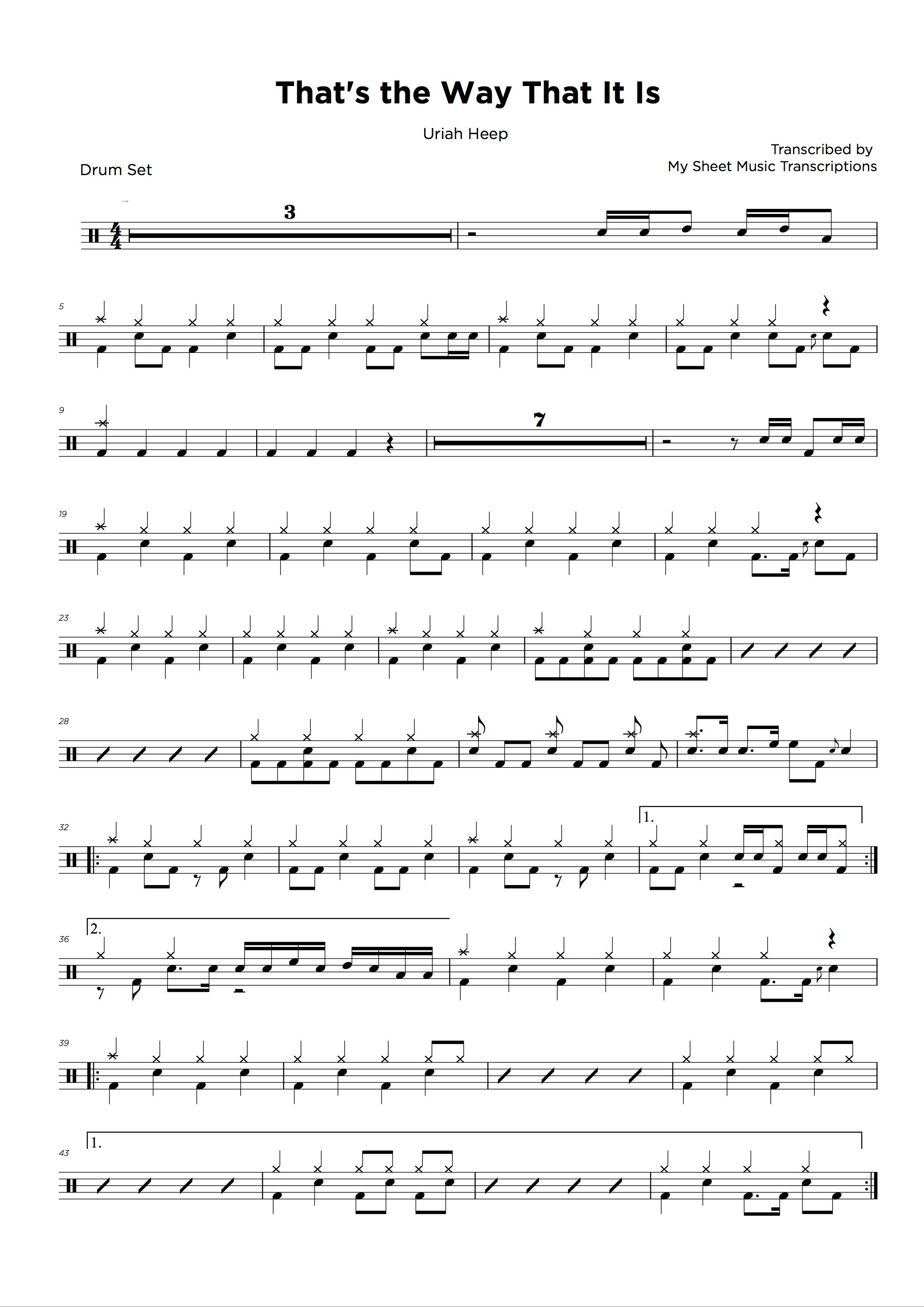 Drum transcription service • My Sheet Music Transcriptions