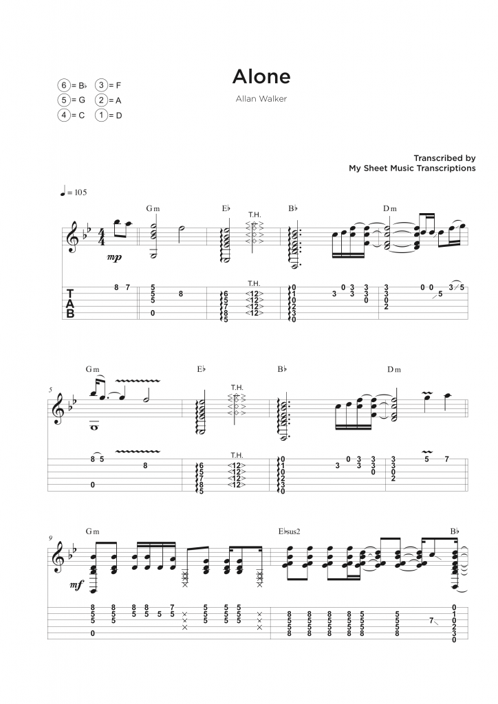 Guitar tab transcription service
