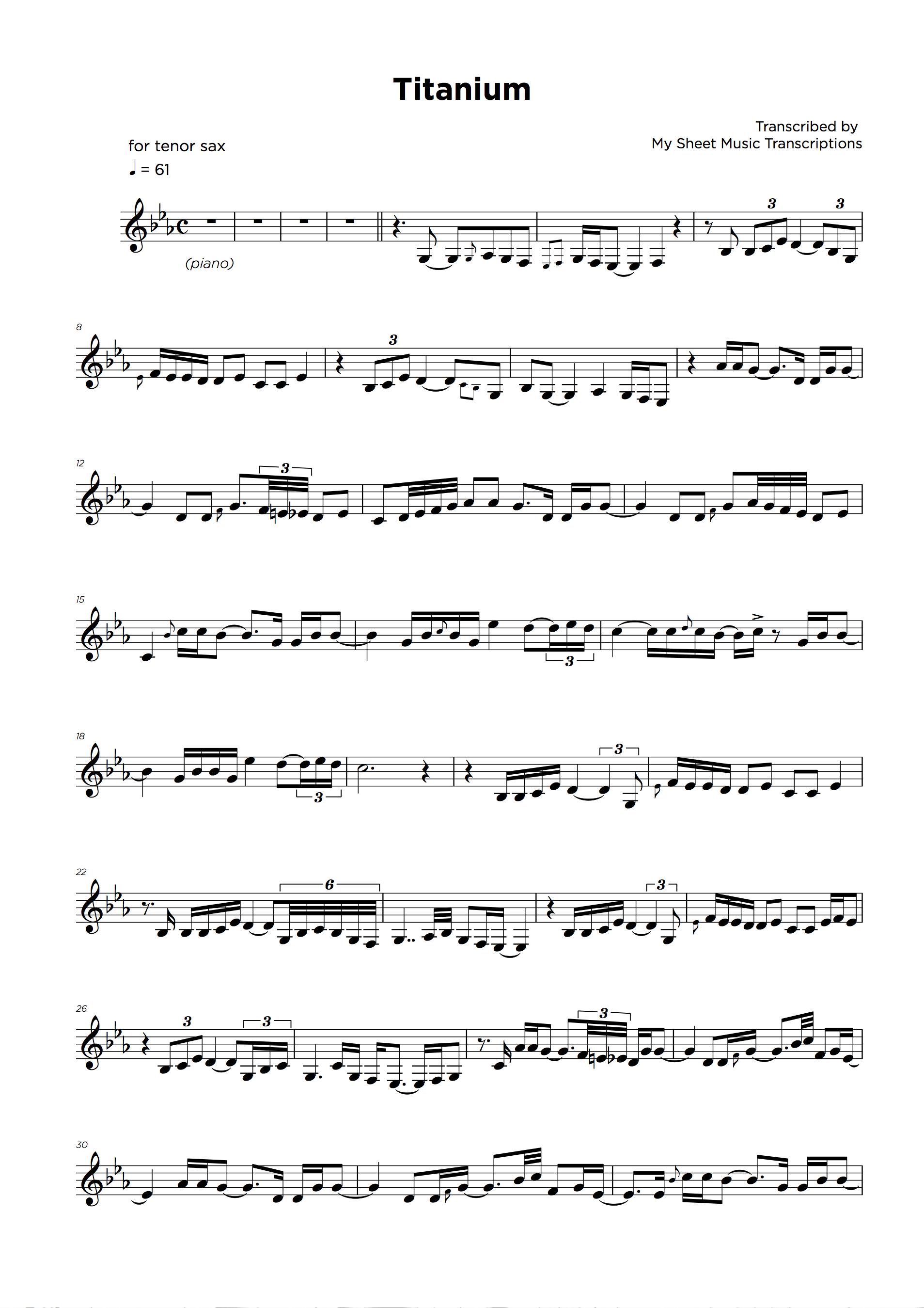 Lead sheet music transcription sample
